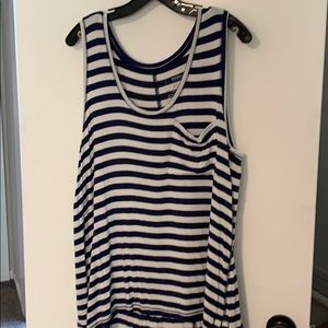 Navy striped tank with pocket
